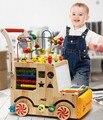 Дети ходунки многофункциональный тележка анти-опрокидывание детские бусины вокруг большого сундук с сокровищами