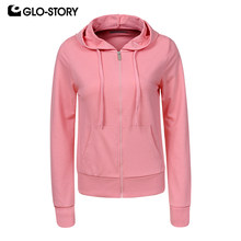 GLO-STORY 2019 New Spring Solid Casual Basic New Zipper Fly Long Sleeeve Sweatshirt with Hooded Jacket Letter Women Top WPU-8974(China)