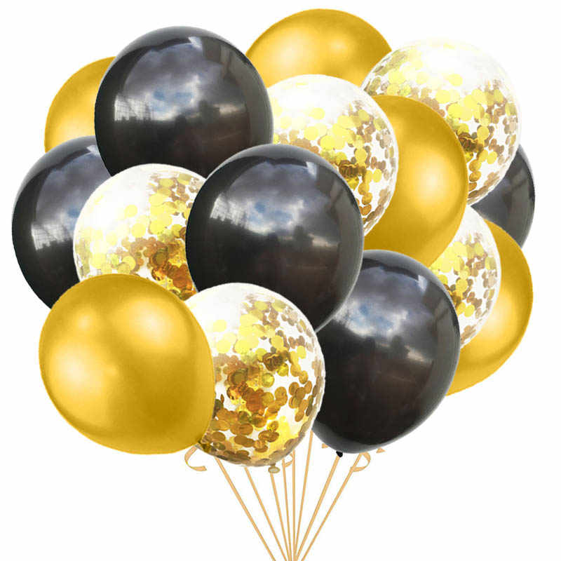 15pcs/set Black Gold Balloon Birthday Wedding Deco Rose Confetti Baloon Birthday Party Decoration Kids Adult Latex Ballon S1XN