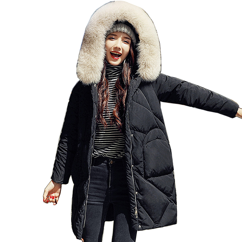 Winter Fur collar   Down   Women Jacket long Fashion Overcoat New women Thicken Warm Outerwear Female Hooded White duck   down     Coat
