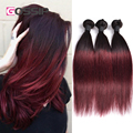 Burgundy Brazilian Straight Hair Ombre Brazilian Hair 4 Bundles Brazilian Virgin Hair Straight 1b/99j Two Tone Ombre Human Hair