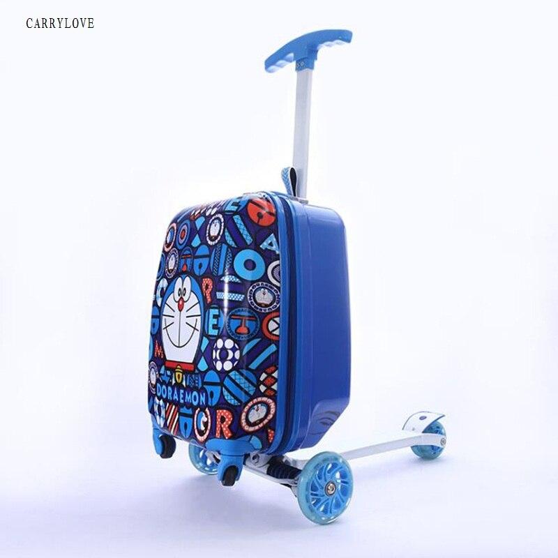CARRYLOVEchild cadeau scooter valise cabine planche à roulettes chariot paresseux essentiel bagages de voyage sac pour enfants