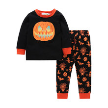 Baby boy girl clothes 2019 new cotton long-sleeved + pumpkin print pants two-piece 2T-7T(China)