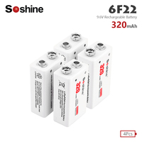 Soshine 6F22 PPP3 6LR61 Lithium Battery lithium batteria Rechargeable 320mAh 9.6V LiFePO4 Batteries Suitable for flashlight
