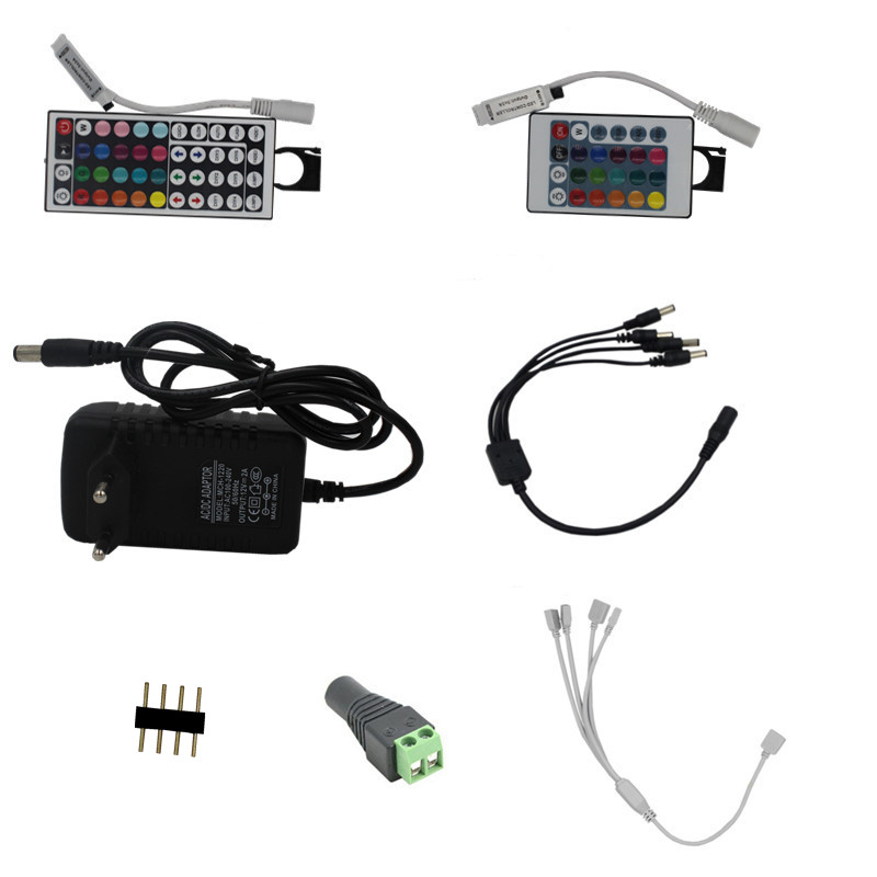 LED Strip Splitter Cable 4-pin Connector 24 44 Key Controller 2A Power Adapter 12v DC RGB LED Light With Cable 1 To 2 1 To 4