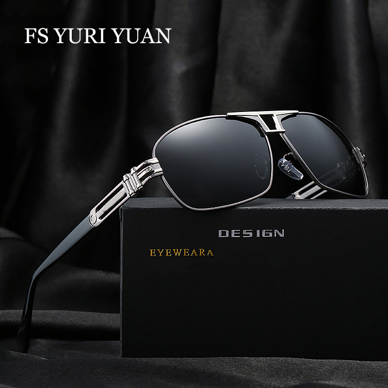 FS YURI YUAN Rectangle Sunglasses Men Polarized Brand Designer 2017 Fashion Driving Sun Glasses Mens Sunglasses FSa377