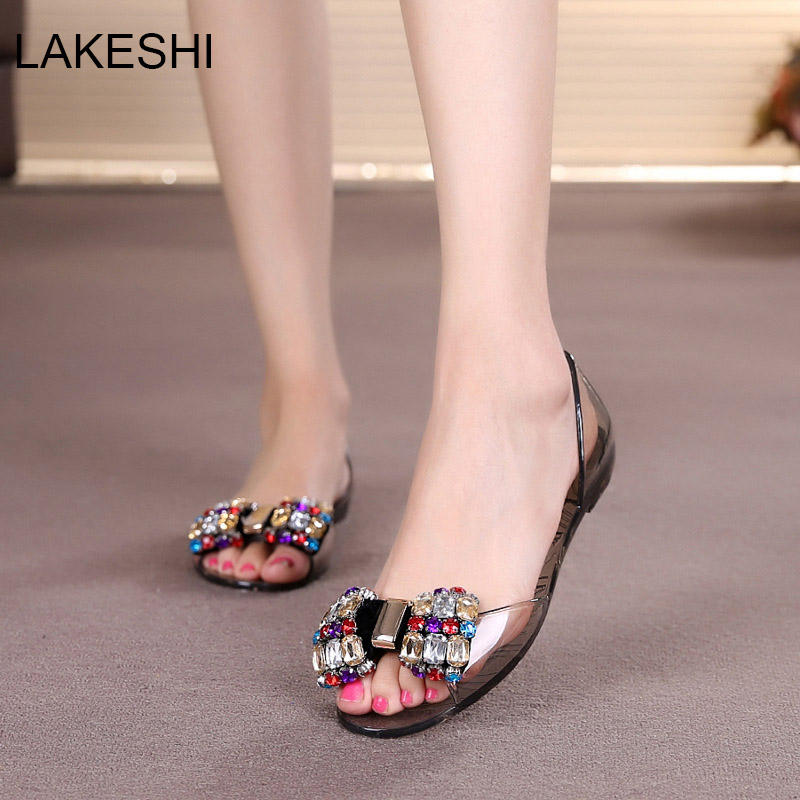 LAKESHI Women Jelly Shoes Fashion Transparent Summer Shoes Women Sandals Flat Ladies Sandals