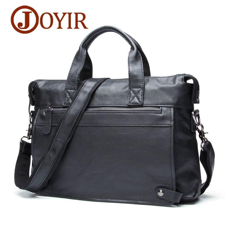 "JOYIR Men Briefcases Genuine Leather Business Briefcase 15"" Laptop Messenger Bag Male Crossboby Shoulder Bags Handbags For Man"