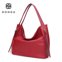 HONGU Trendy Women S Tote Tassel Handbags Girl 100 Genuine Leather Business Bags Ladies Crossbody Shoulder