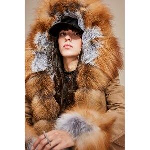 Image 2 - JAZZEVAR 2019 חדש אופנה נשים לוקסוס גדול אמיתי שועל פרווה שרוול צווארון ברדס מעיל קצר מעיילים להאריך ימים יותר חורף מעיל