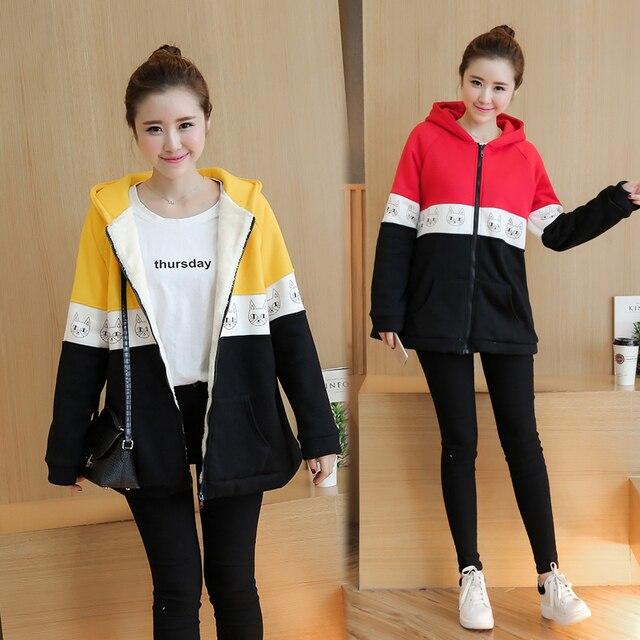 Plus Velvet Autumn/winter Maternity Sweater Fleece Maternity Hoodies Pregnancy Fleece Jacket Outerwear Maternity Clothing B413