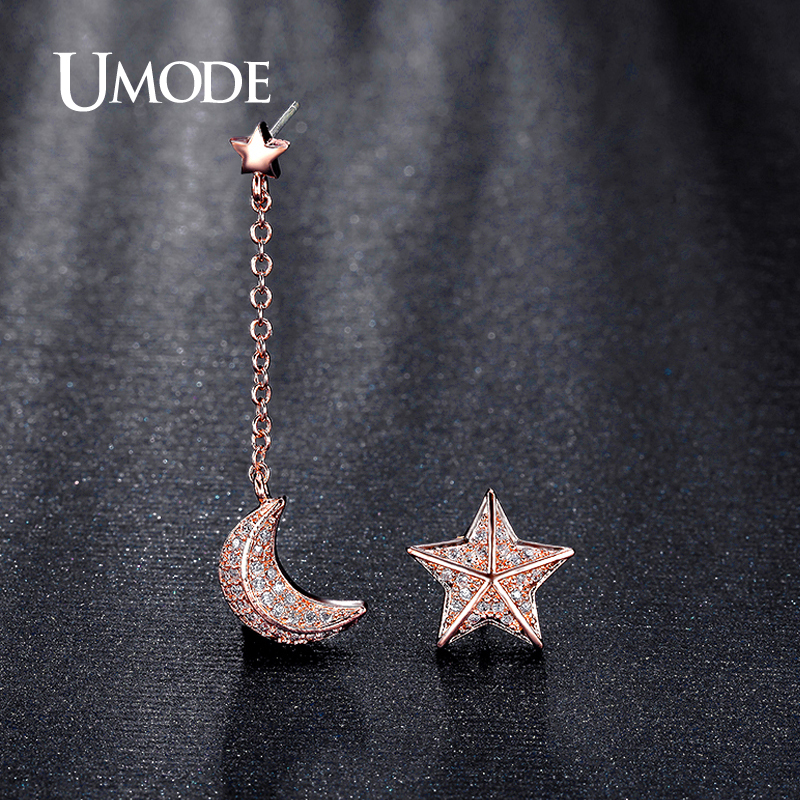 UMODE Brincos Star and Moon With Chain CZ White / Rose Gold Color Drop Earrings For Women Boucle Doreill Drop Jewelry AUE0196A