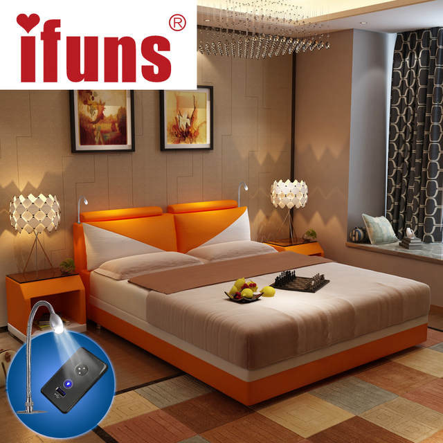 IFUNS luxury bedroom furniture sets king & queen size double bed frame  genuine leather storage chaise tatami LED night USBcharge-in Beds from ...