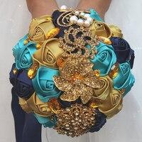 Newest gold silk rose wedding bouquets wedding flower bridal bouquets for wedding