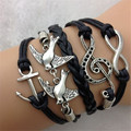 Hot Sale Womens Fashion Vintage Anchors Rudder Peace Dove Musical Note Eight Cross Leather Bracelet Multilayer Bracelets YB32