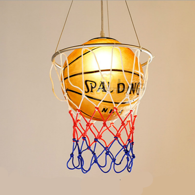 New creative Personality Sports Glass Basketball Led E27 Pendant Light For Children's Room Bedroom Dia 28cm Ac 80-265v 1974 chrome kitchen sink faucet solid brass spring two spouts deck mount kitchen mixer tap