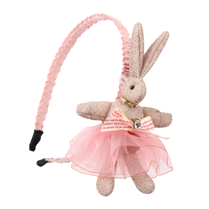 New Fashion Children's Cartoon Rabbit Lace Dress Headbands Kids Bow Knot Anti-slip Hairband Headwraps For Girls Hair Accessories