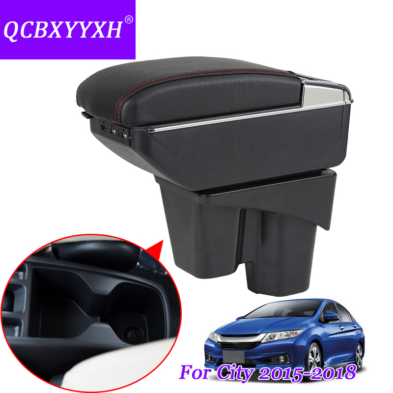 QCBXYYXH Case For Honda City 2015-2017 Armrest Box Central Store Content Storage Box With Cup Holder Auto Ashtray Car Styling qcbxyyxh case for honda fit jazz 2014 2018 2nd generation armrest box central store content storage box with cup holder ashtray