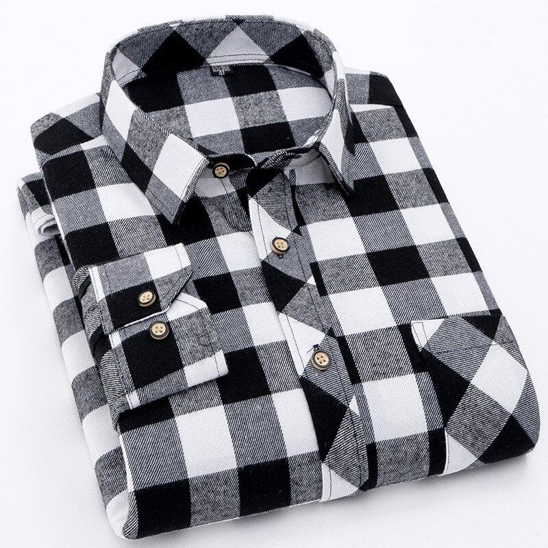 Flannel Plaid Shirt Men 2019 Fashion Dress Men Shirt Casual Warm Soft Long Sleeve Shirts Camiseta Masculina Chemise Homme