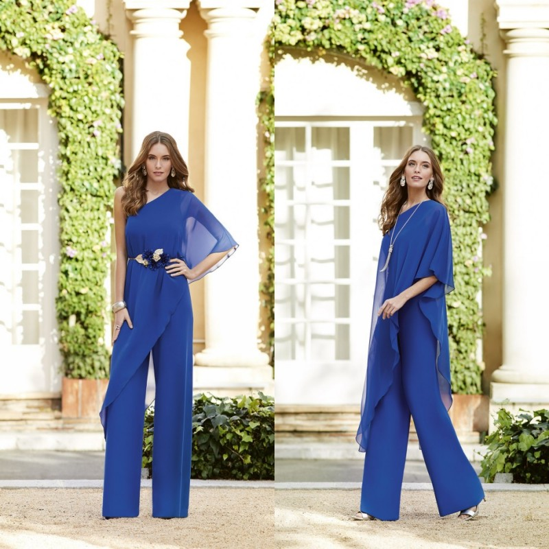 2019 Chiffon Jumpsuits Mother of the Bride Dresses Pants Suits One Shoulder Evening Gowns Custom Floor Length A-Line Prom Dress