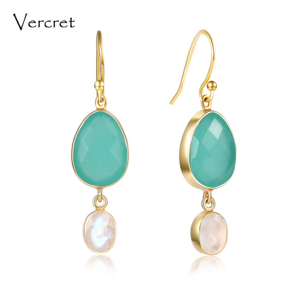 Vercret 925 sterling silver aqua calci drop earring rainbow moonstone dangle earrings fine jewelry for women gifts sp аквакейс sp unicase aqua