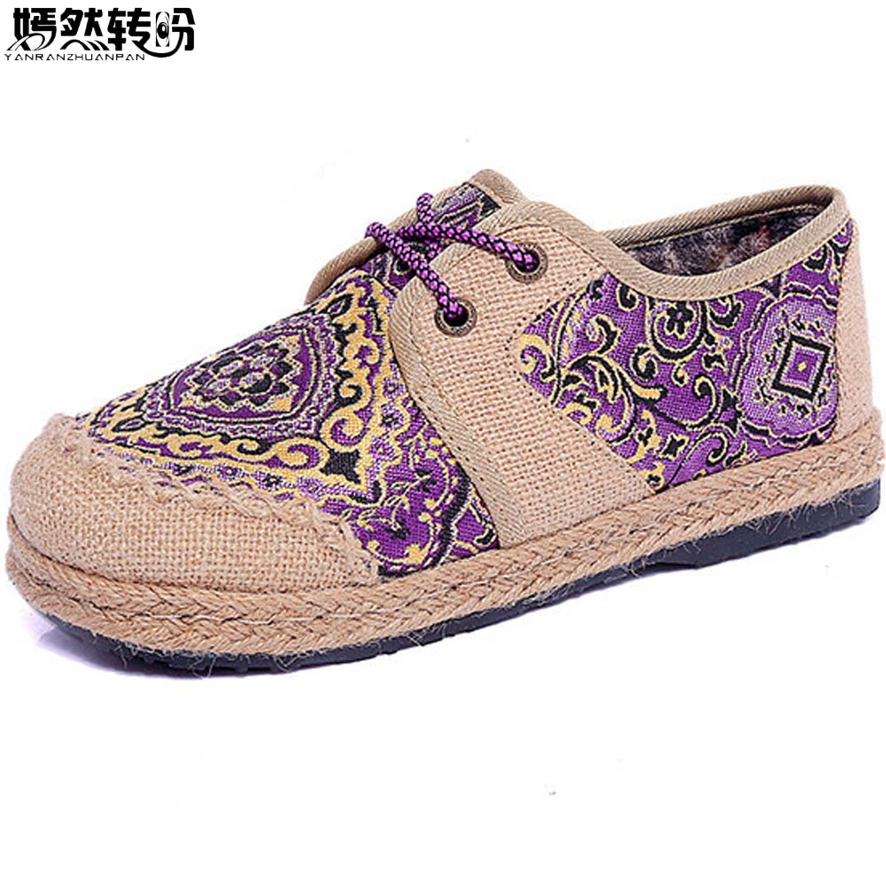 Chinese Women Flats Shoes Vintage Boho Cotton Linen Canvas Floral Embroidered Cloth Lace Up Soft Woven Round Toe Shoes Woman vintage women linen shoes thai cotton canvas owl embroidered cloth single national flats woven round toe lace up shoes woman