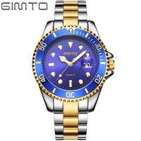 GIMTO Brand Business Watch Men Calendar Steel Quartz Wristwatch Luxury Gold Silver Mens Watches Waterproof Relogio