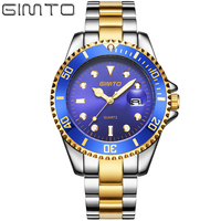 GIMTO Brand Business Watch Men Calendar Steel Quartz Wristwatch Luxury Gold Silver Mens Watches Waterproof Relogio