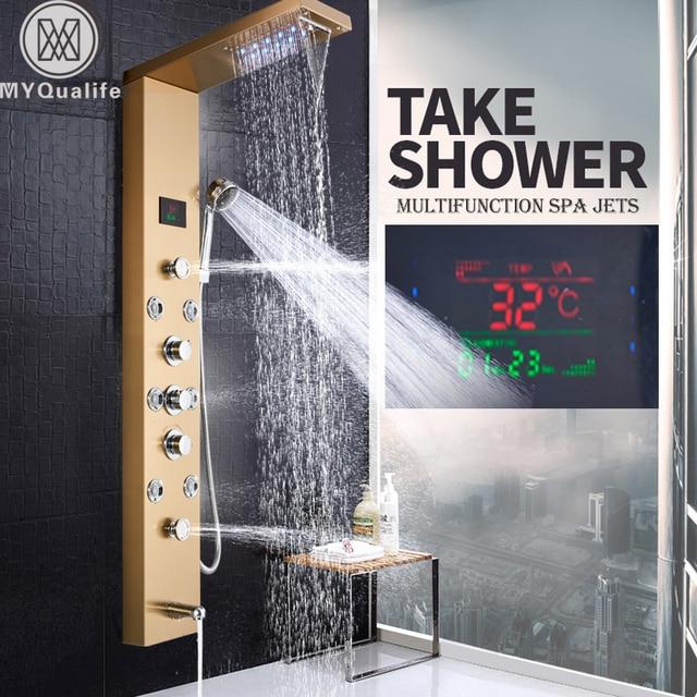Led Light Bath Shower Panel Golden Waterfall Rain Shower Column