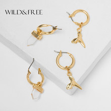 Wild&Free Cute Gold Small Hoop Earrings Acrylic Geometric Pendant Ear Piercing Tiny Hoop Earring For Women Girl 2019 Jewelry(China)
