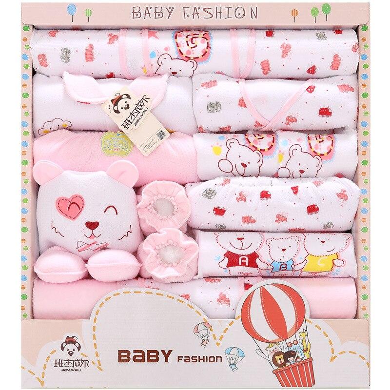18 Pcs/Lot 2019 nouveau-né bébé fille vêtements automne Air chaud ballon cadeau boîte ensemble épais coton caractère bébé garçon vêtements