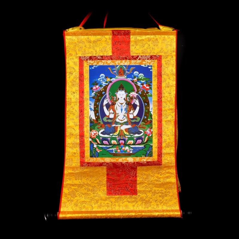 Buddhist supplies 60 CM Thang ga Thangka efficacious Protection Tibetan Buddhism Shadakshari Avalokitesvara Buddha painting