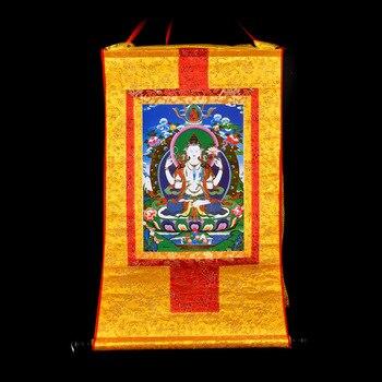 Buddhist supplies # 60 CM Thang-ga Thangka # efficacious Protection Tibetan Buddhism Shadakshari Avalokitesvara Buddha painting