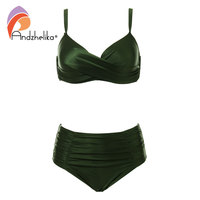 Andzhelika High Waist Bikinis Women Swimwear Summer Solid Color High Grade Fabric Bikini Set Plus Size