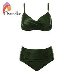 Andzhelika High Waist Bikinis Women Swimwear Summer Solid color high-grade fabric bikini Set Plus Size Swimwear Bathing Suit