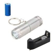 Tactical Flashlight Rechargeable 800Lm XM L2 LED Mini Flashlight Torch Key Ring Light 16340