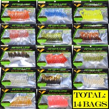 Fishing Lure 168pcs/lot Twisted Tails Soft Baits 45mm 1.2g Plastic Bait Soft Worm Isca Artificial Baits grubs lure Jig Head