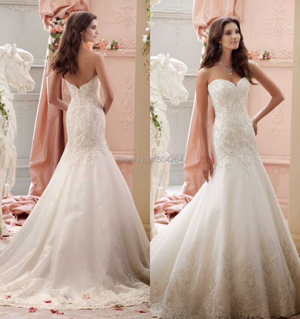 New Arrival Trumpet Wedding Dresses 2015 Beach Simple Bridal Gowns ...