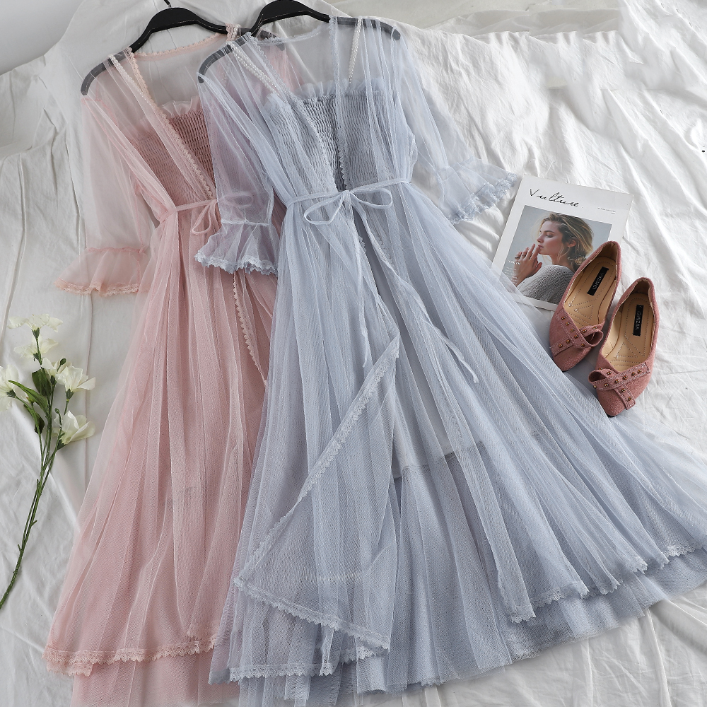 Women Summer Flare Sleeve Pleated Lace Up Bandage Ruffles Dress Casual Elastic Slim High Waist Strapless Mesh Gauze Voile Dress