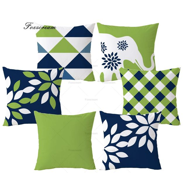 Nordic Decoration Home Decorative Pillows Case Blue Cushion Cover Green Geometric Throw Velvet Pillowcase For Sofa