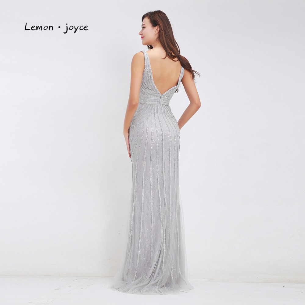 Lemon joyce Formal Gray Evening Dresses 2019 for Women Sexy Deep V Neck  Backless Elegant Long Party Prom Gowns Plus Size-in Evening Dresses from  Weddings ... af2eb1030698