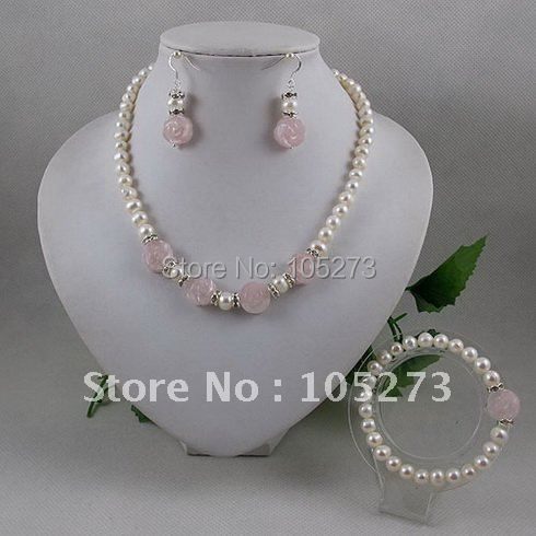 Wholesale Elegant jewelry set AA 14mm pink flower 6 7mm fresh water pearl necklace bracelet earring magnet clasp 1set/lot A2065