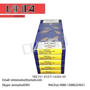 Free shipping high quality 10pcs/lots YBC251 VCGT110304-HF cnc carbide turning inserts cutting blade tools
