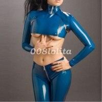Latex Rubber Fancy Dress Jackets And Trousers Drak Blue Suit Set XXS XXL