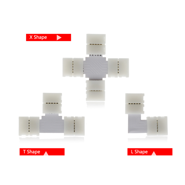 Hot seller LED Strip Connector 2pin 4pin 5pin 10mm L Shape / T Shape / X Shape Free Welding Connector 5pcs/lot.
