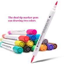 Water Soluble 14pcs/28color Two-color Soft Head Gradient Marker Pens Painting Set, Hand-painted Set Writing Paint Pen Marker