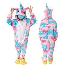 Winter Animal Pijamas Unicorn Pajamas Sets Flannel Stitch Pink Unicornio Sleepwear Women Men Adults Onesie Nightie Piece Pyjamas