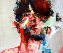 Knife painting portrait two man Face Oil Impasto figure on canvas Art Big Wall Pictures