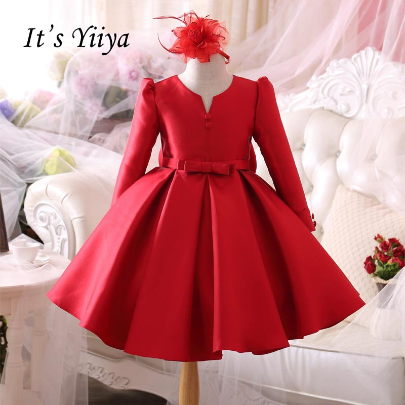 It's yiiya New Red Taffeta   Flower     Girl     Dresses   Bow Zipper Normal Party   Girls     Dresses   For Party Wedding Ball Gown Kids   Dress   S012