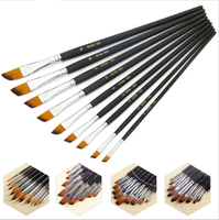 9Pcs Set Artist Paint Brush Round Pointed Flat Oblique Art Paint Brushes For Oil Watercolor Acrylic